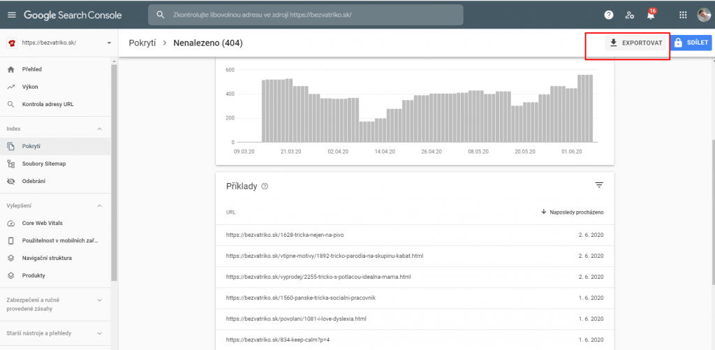 Export chyb 404 ze Search Console