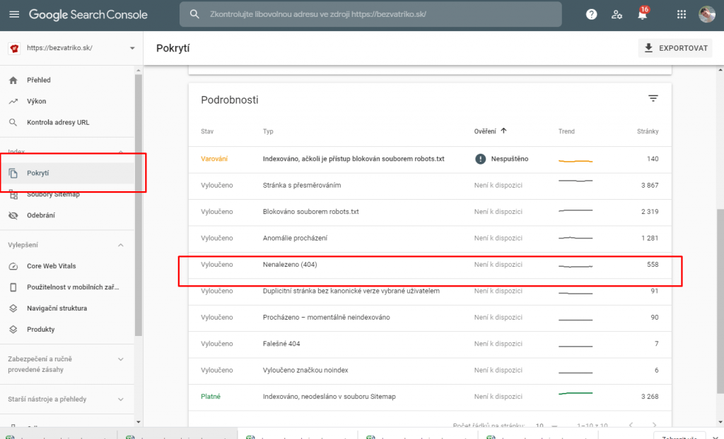 Chyby 404 vSearch Console
